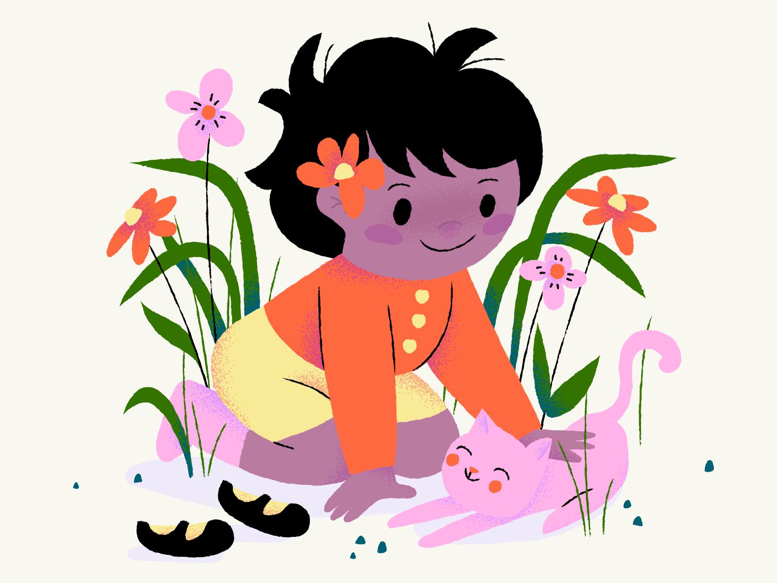 Gekleurde Illustratie van een kind, planten, bloeme en een roze kat, autora Anna Hurley