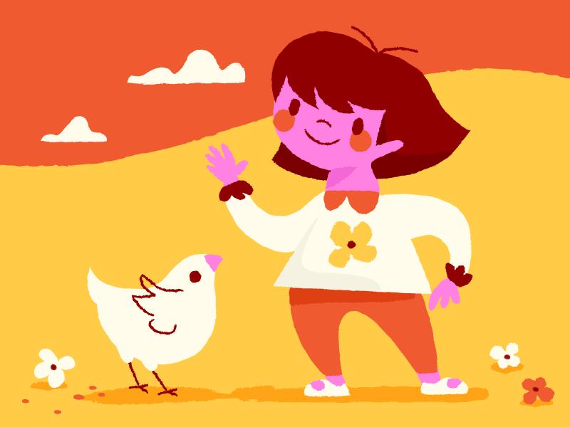 Illustratie van kind met een kip en wolkjes, Anna Hurley