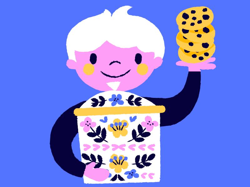 Illustratie van kind met koekendoos en koekjes, Anna Hurley