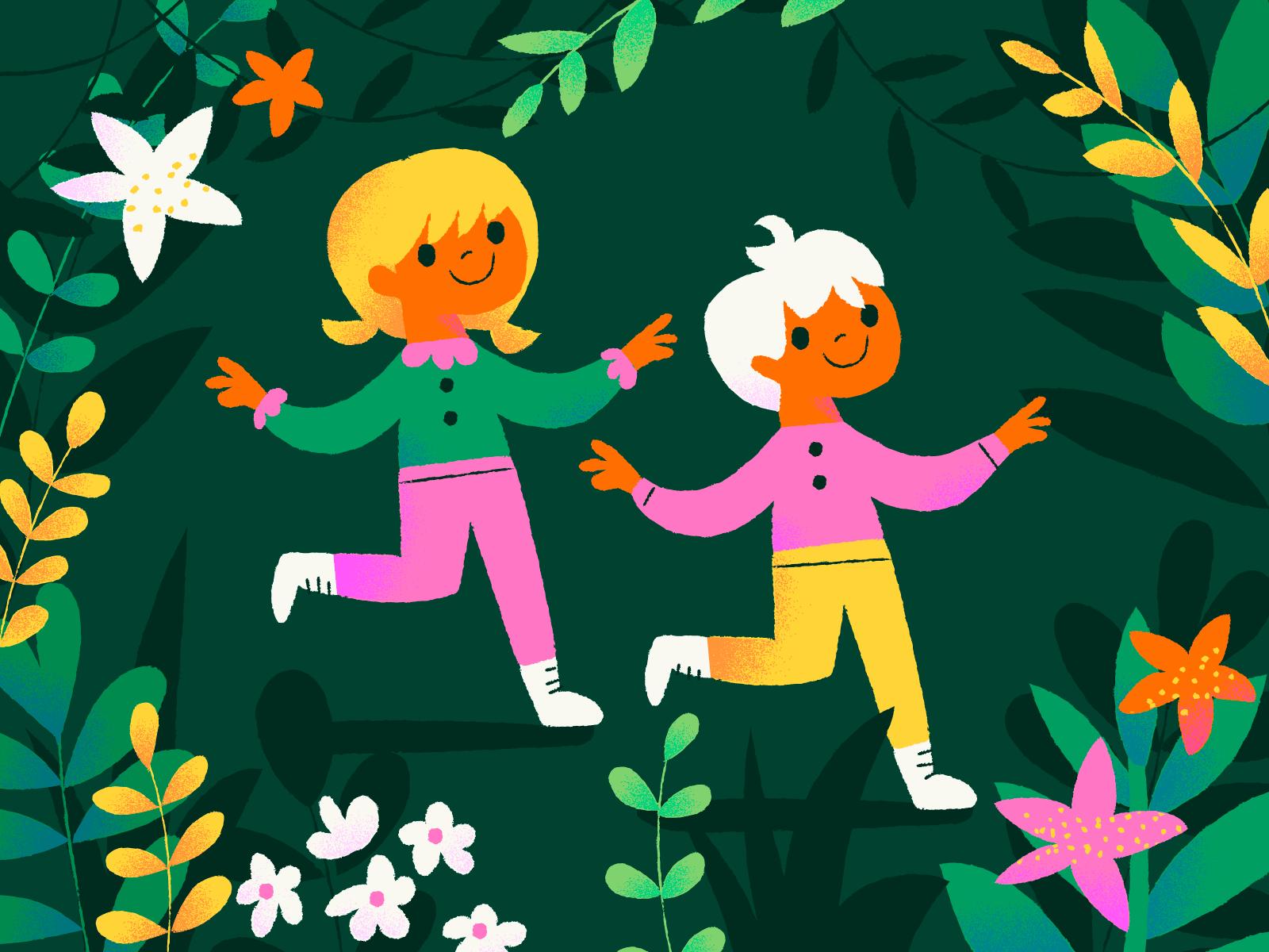Gekleurde Illustratie van 2 kinderen, planten en bloemen, autora Anna Hurley