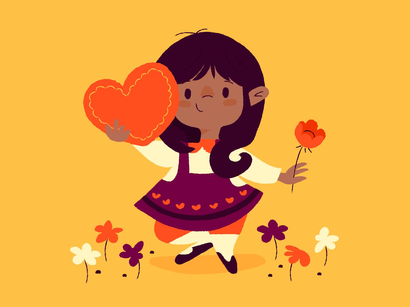 Illustratie van kind met een hart en een bloem, Anna Hurley