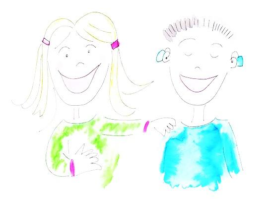 Illustratie van een meisje en een jongen